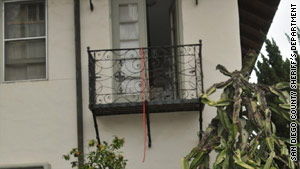 Police say Zahau, bound and naked, moved herself off this balcony and hanged herself. The rope was tied to a bed.