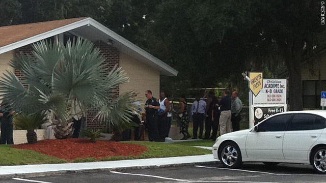 The gunman shot two people at a church, according to the Polk County Sheriff's Office.