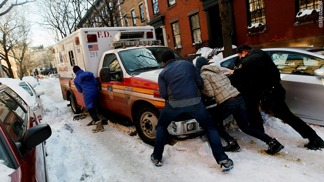 Snow can snarl rescue efforts, as it did in New York City in December.