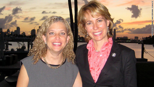 Rep. Debbie Wasserman Schultz, left, visited her friend Rep. Gabrielle Giffords in Tucson and Houston.