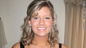 Samantha Hessel, preparing for her prom in 2008, frequented the tanning salon every week.