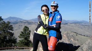 Tim Delgado proposed to Alison on top of Lookout Mountain in Golden, Colorado, after a grueling bike ride.