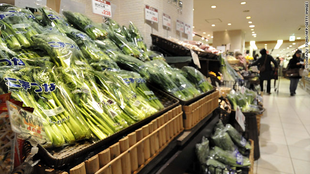 Fresh vegetables are among the foods produced near a Japanese power plant that won't be allowed in the United States.