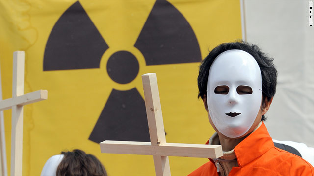 South Korean environmental activists demonstrate to oppose nuclear power in Seoul on Monday.