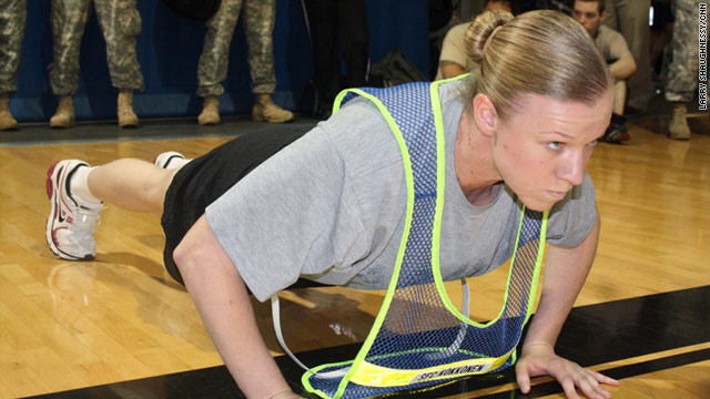 Sgt. 1st Class Amanda Kokkonen performs pushups for the new test without resting and without changing hand positions.