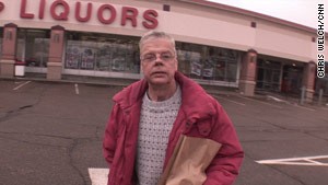 "Nick Lott heads to the liquor store where he spends most of his monthly allotment of $89.  ""I know that must sound horrible to the taxpayers, but that's what it is,"" he says."