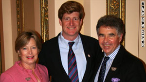 Patrick Kennedy (center) has joined forces with Shari and Garen Staglin to fight mental illness.