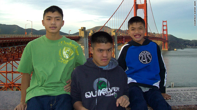 B.J. Hom, center, died of an allergic reaction in 2008. His brothers Brandon, left, and Steven also have susceptibility to allergies.
