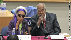 Patricia and John Due speak about civil rights at the University of Florida in February.