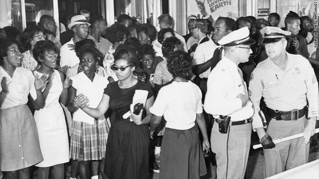 Patricia S. Due, in a black dress, participates in a civil rights demonstration in Tallahassee,  Florida, in 1963.