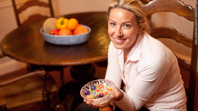 Wendy Fox switched the M&amp;M's in her coffee table bowl for brightly colored marbles.