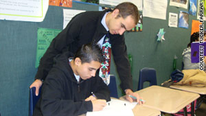 Tucker Farrar uses real-life scenarios to work on geometry with students, including Jesus Rodriguez.