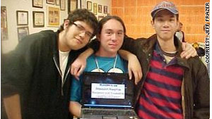 Caprock students Martin Martinez, Daniel Quintana and Nguyen Lam with their Great Depression project.