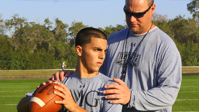 Nick Heras, 14, is training to become a quarterback. His parents say his training comes at a cost: More than $50,000 a year.