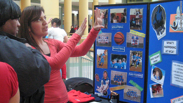 Parents meet with various schools during an education fair in Milwaukee, Wisconsin. School enrollment for fall will start soon.