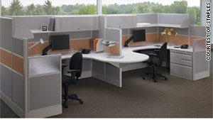 Cubicle furniture made of lighter materials and featuring lower walls are in high demand, according to Staples.
