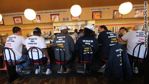 Caravan members fuel up at Waffle House before heading into Tampa, Florida.