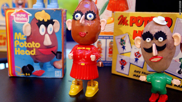Classic Mr. Potato Heads are displayed at a 50th birthday party for the popular childrens toy.