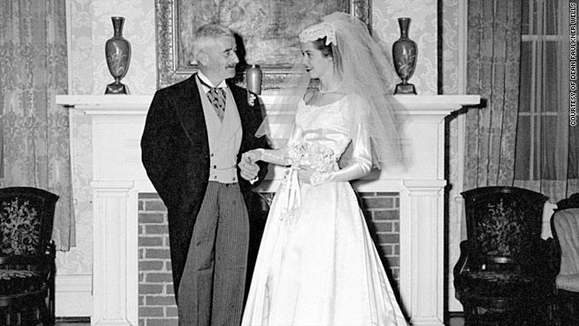 Dean Faulkner Wells poses next to her uncle William Faulkner at his home just before her wedding.
