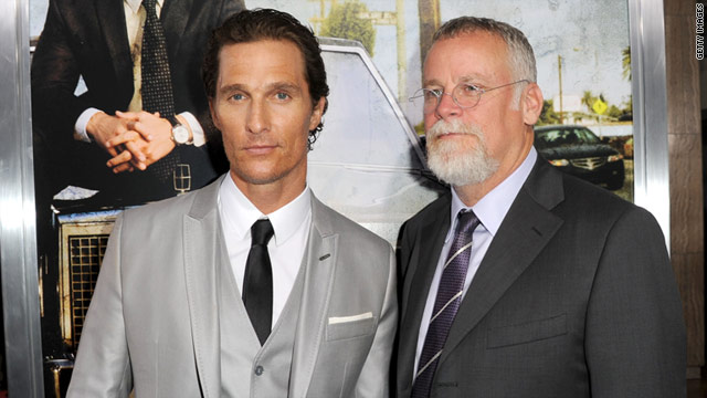 "Actor Matthew McConaughey and writer Michael Connelly arrive at the premiere of the movie ""The Lincoln Lawyer."""
