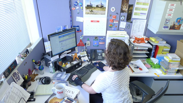 CNN librarian Kerith Page McFadden works at her desk in Washington.