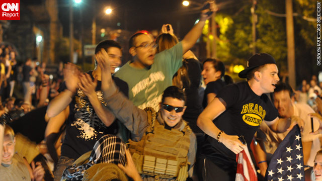 Students at West Virginia University in Morgantown celebrate after hearing the news of Osama bin Laden's death.