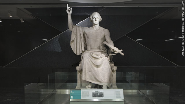 """Horatio Greenough's """"George Washington"""" was modeled after statues of Greek gods, but looked a little less dignified."""
