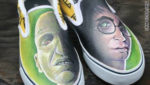 "Shoes created with ""Harry Potter"" movie images."