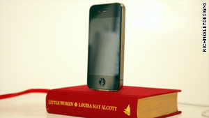 An iPhone charger created from a book.