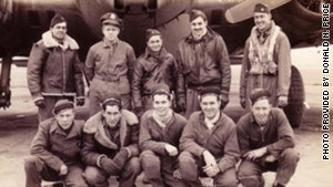 Lt. William M. Price III, standing second from right, with fellow airmen on the day of his last mission.