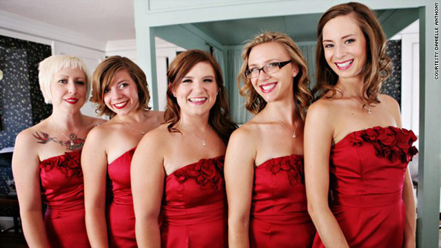 Brianne Bricker (middle) poses with fellow bridesmaids before a wedding she was in last August.