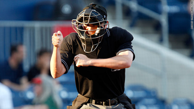 International League umpire Jon Byrne, 27, is officiating his first season in triple-A baseball.
