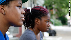 "19-year-old Alana Gooden, on the left, credits Philadelphia's spoken word or ""slam"" poetry program with saving her life."