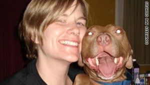 Ami Ciontos and Basil, a pitbull that she took from the largest dog fighting raid in history.