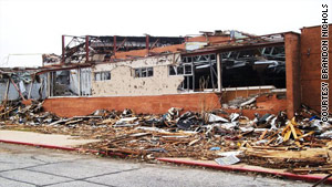 The Joplin High School band room (pictured above) was ravaged by the tornado.