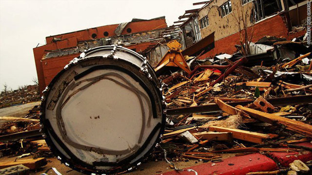 The tornado that struck Joplin in May left Joplin High School marching band members with no instruments or music to play.