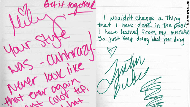 "Miley Cyrus's and Justin Bieber's handwriting in Habbo Celebrity ""Advice to My Teenage Self."""