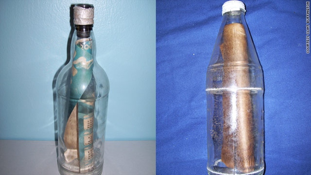 These are just two of the 40 bottles with messages inside that Clint Buffington has discovered.