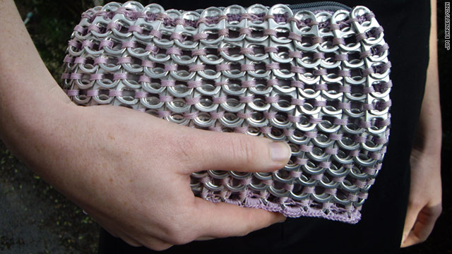 The aluminum tab purses are made by students at the St. Monica's Girls' Tailoring School in Gulu, Uganda.