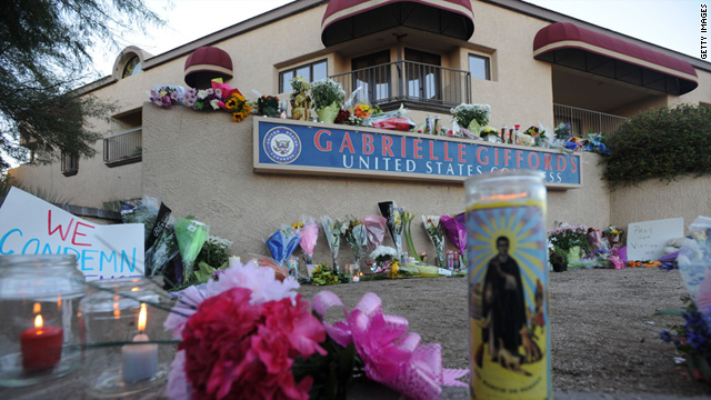 Flowers and candles were left outside the Tucson office of U.S. Rep. Gabrielle Giffords.