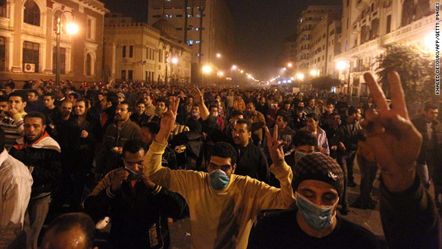 Egyptians demonstrate on the streets of Cairo, demanding the resignation of President Hosni Mubarak.