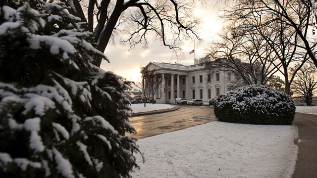 A winter view of the White House.