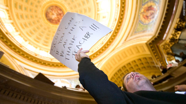 Teacher Terry Grogan of Milwaukee takes part in protest at Wisconsin State Capitol on February 16.