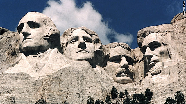 Mount Rushmore depicts Presidents George Washington, Thomas Jefferson, Theodore Roosevelt and Abraham Lincoln.