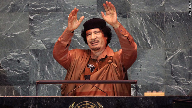 Libyan leader Moammar Gadhafi addresses the U.N. General Assembly in September 2009.