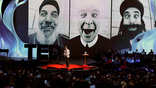 Street artist JR makes his TED Prize wish public at the TED 2011 conference in Long Beach, California, on Wednesday.