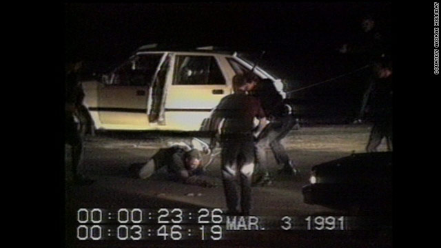 An image from the video of the 1991 Rodney King beating, enhanced for the ensuing federal trial.