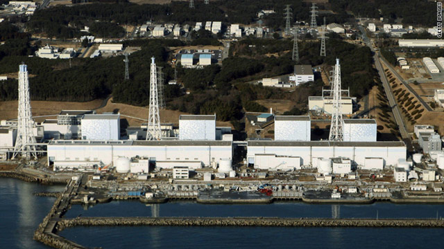 An aerial view shows the quake-damaged Fukushima nuclear power plant in the Japanese town of Futaba.