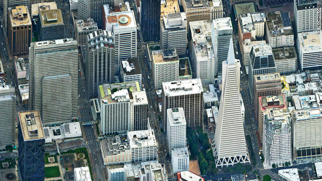 A photo-realistic image of San Francisco from C3 Technologies.