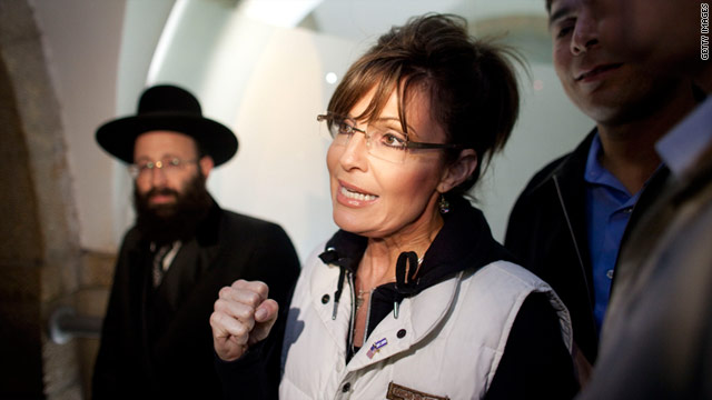 Former Alaska Gov. Sarah Palin visits the Western Wall tunnels on March 20 in Jerusalem.